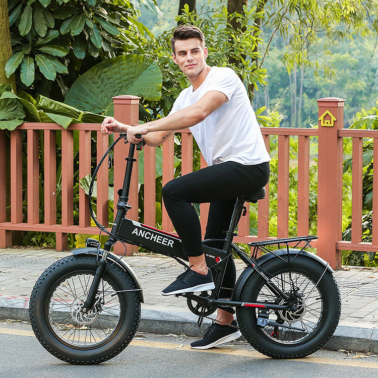 Ancheer Folding Electric Bike With 20 Inch Fat Tires Gearscoot