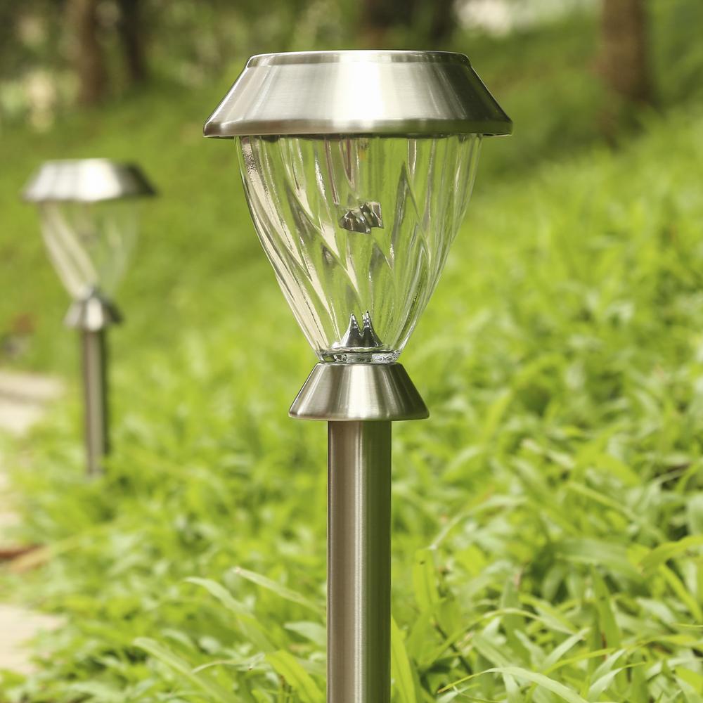 2pcs solar lamp outdoor led solar lawn lamp garden lights landscape path stake stainless steel. Black Bedroom Furniture Sets. Home Design Ideas