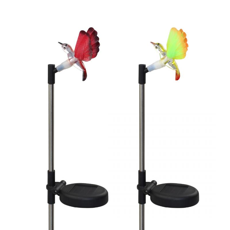 2pcs Solar Power Stake Pathway Lights Fiber Optic Color Changing Hummingbird  Garden ...