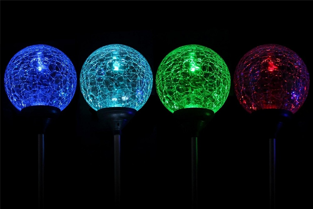 2pcs/box Solar Garden Stake Lights Outdoor Lighting Cracked Crystal Glass  Globe Color Changing ...
