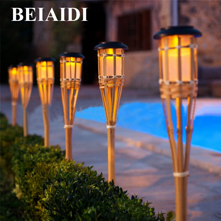 lighting tiki torches. BEIAIDI 10PCS Solar Spike Spotlight Lamps Handmade Bamboo Tiki Torches Lighting L