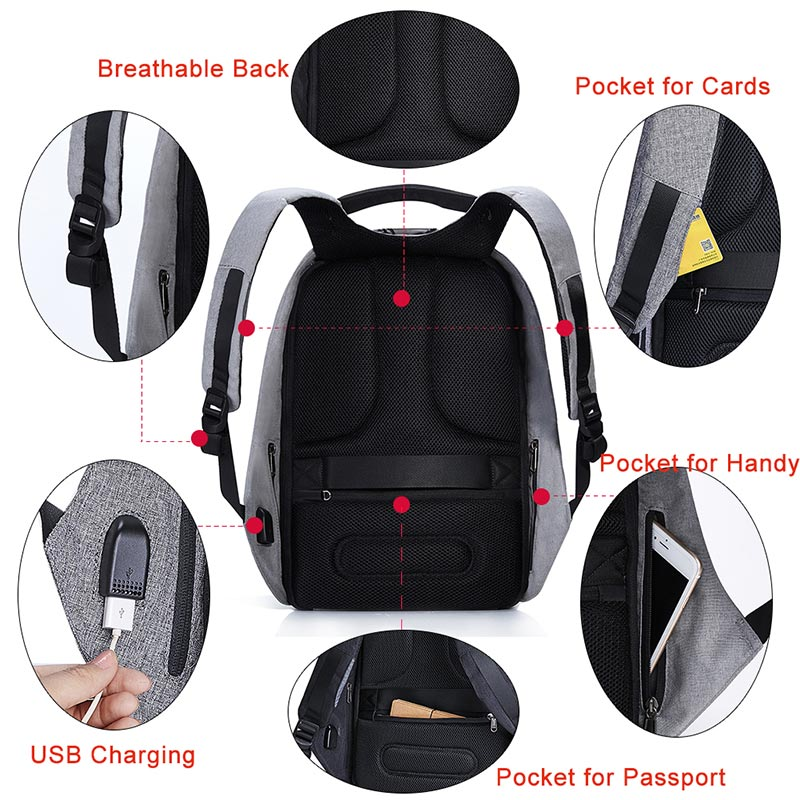 KALIDI 15.6 inch Anti theft Laptop Backpack Waterproof with USB Charge ... 2e04edded201f
