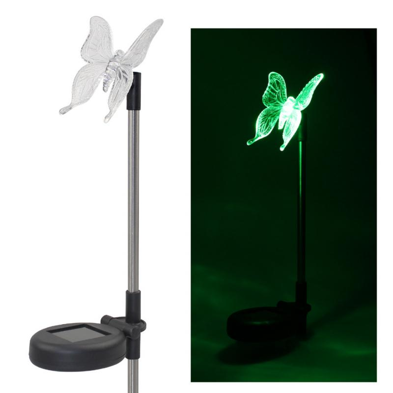 Pack Of 2 Solar LED Color Changing Butterfly Garden Stake Light Lawn  Decoration