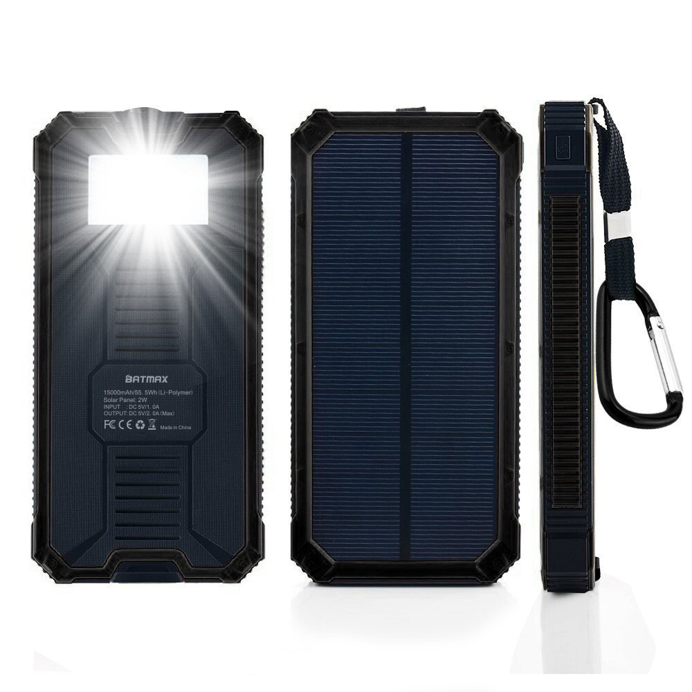 Solar Charger Led Lamp Power Bank 15000mah Rechargeable Battery Charging