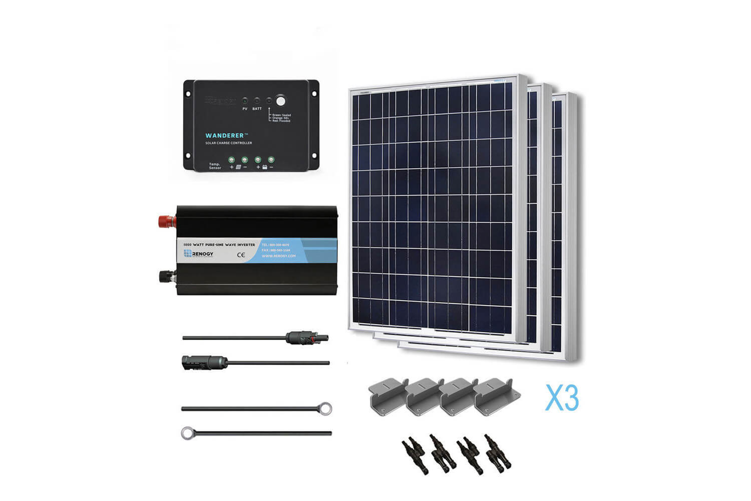 Solar Panel Complete 300 Watts Poly Kit With Inverter Off