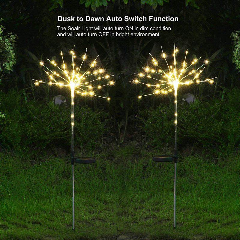 2 Pack Led Solar Garden Firework Lights Copper Wire Starry
