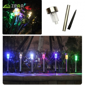 10 Pcs Outdoor Stainless Steel Solar Power 7 Color Changing LED Garden  Landscape Path Pathway Lights